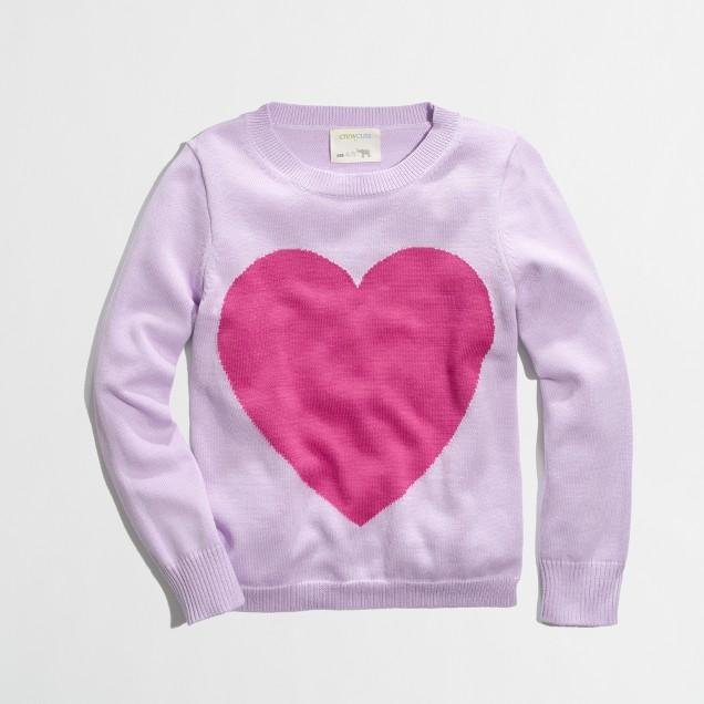Factory girls' intarsia heart sweater