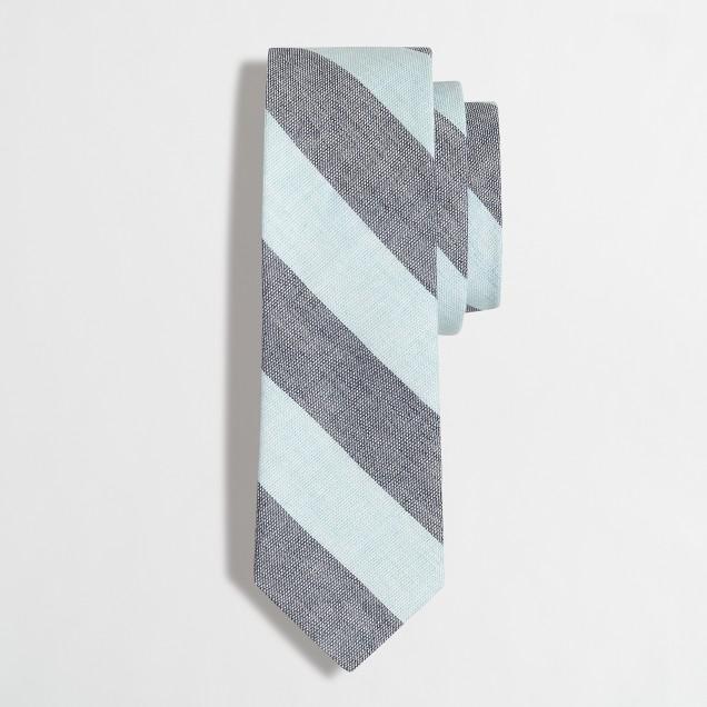 Linen-cotton diagonal-striped tie