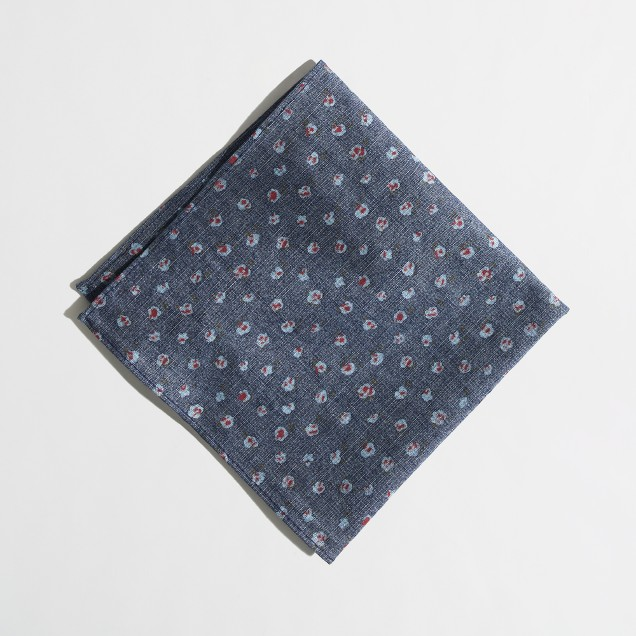 Factory floral chambray pocket square
