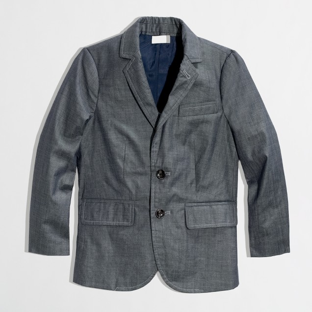 Factory boys' Thompson suit jacket in chambray