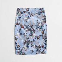 Stretch pencil skirt in botanical bird print