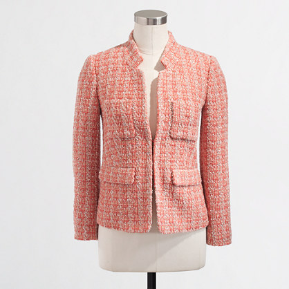 Factory coral tweed blazer