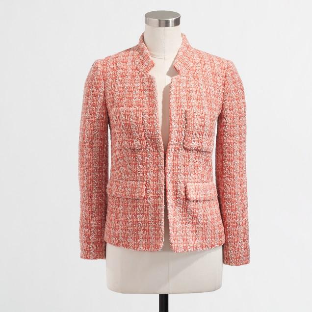 Factory coral tweed blazer