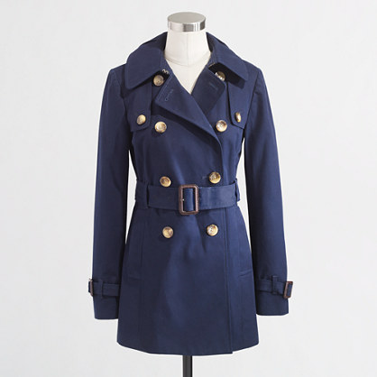 Factory belted trench coat in navy