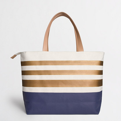 Factory colorblock weekend tote in stripe
