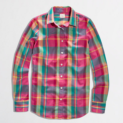 Factory classic button-down shirt in summer plaid
