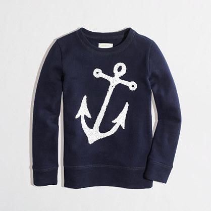 Factory girls' sequin anchor sweatshirt