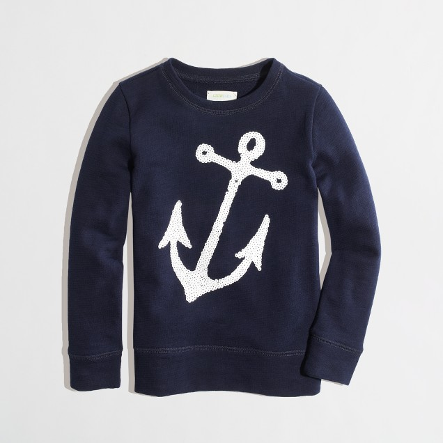 Factory girls' sequin anchor sweatshirt