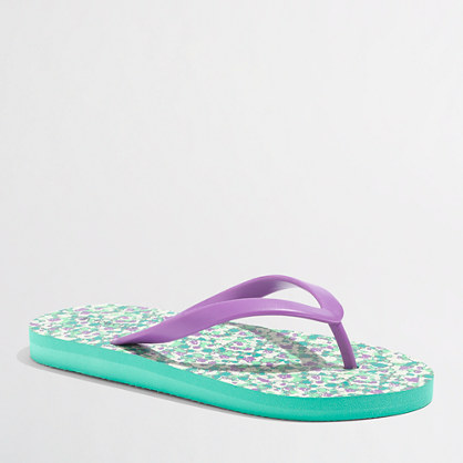 Factory girls' printed flower flip-flops