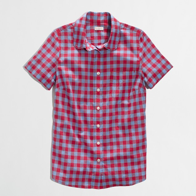 Factory short-sleeve classic button-down shirt in gingham