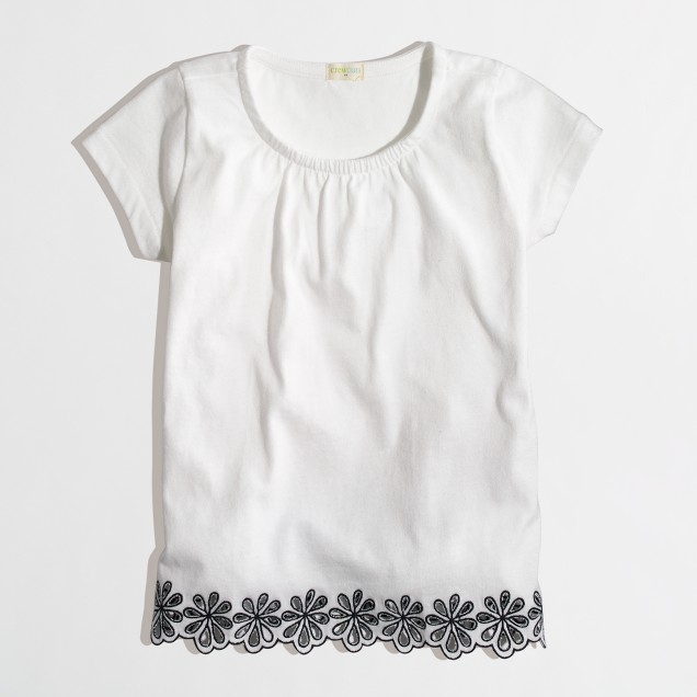 Factory girls' embroidered eyelet-trim top