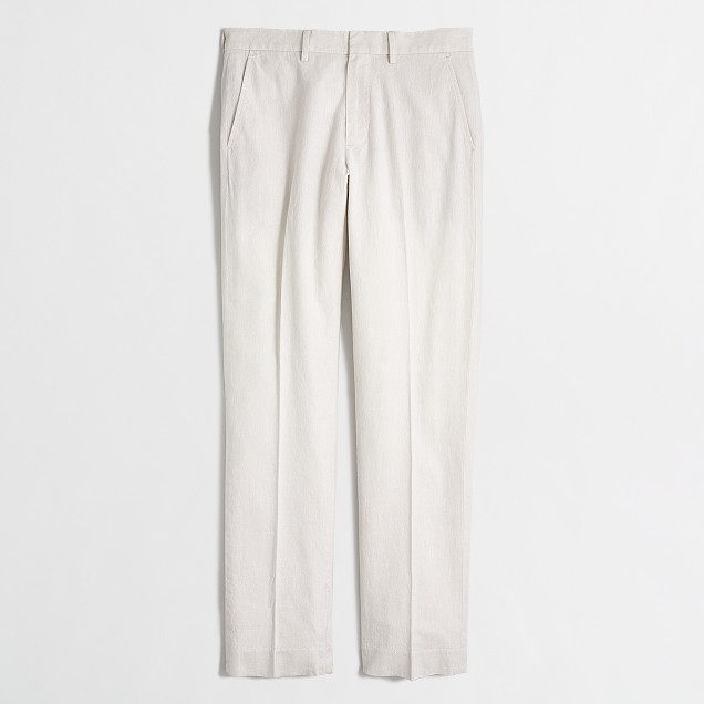Slim linen-cotton Bedford dress pant
