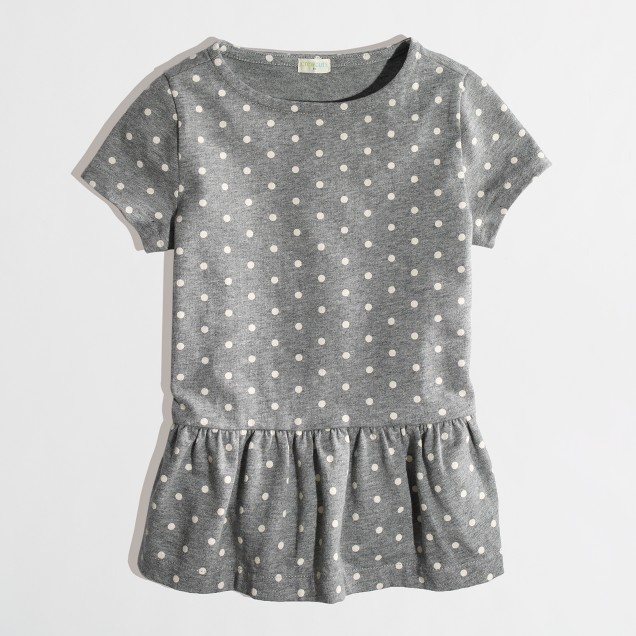 Factory girls' polka-dot peplum tee