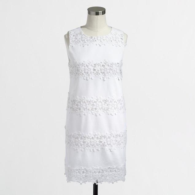 Factory scalloped lace stripe dress