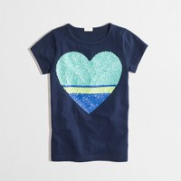 Factory girls' colorblock sequin heart keepsake tee