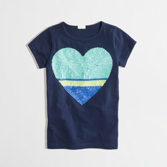 Factory girls' colorblock sequin heart keepsake tee