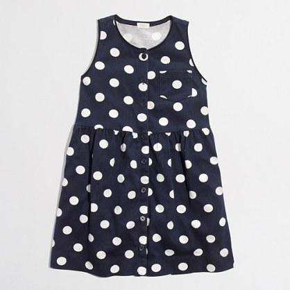 Factory girls' button-down dotted dress