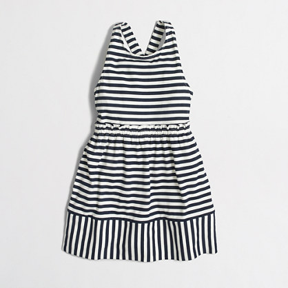Girls' striped cross-back dress