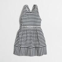 Girls' striped cross-back dress