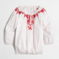 Factory girls' embroidered peasant top