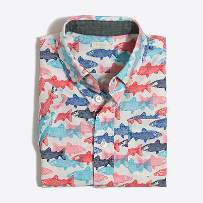 Boys' printed short-sleeve washed shirt