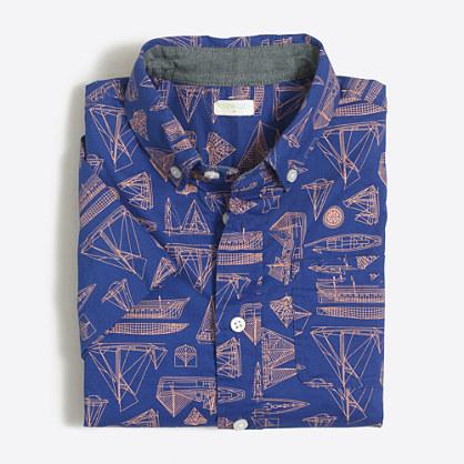 Boys' printed short-sleeve washed shirt
