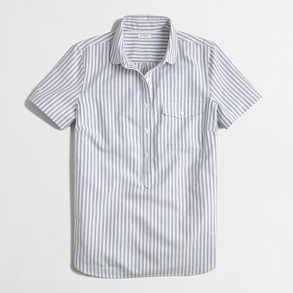 Factory printed short-sleeve oxford popover