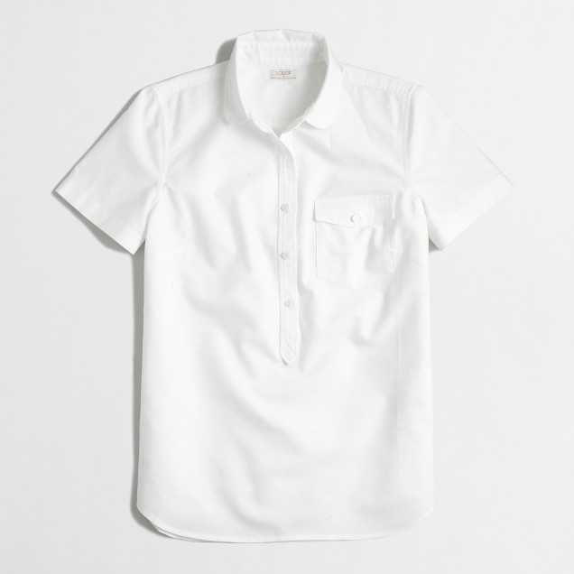 Factory short-sleeve oxford popover