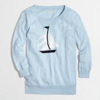 Factory intarsia sailboat crewneck sweater