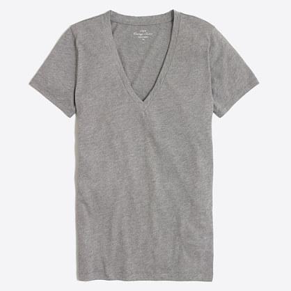 Heathered featherweight slub cotton V-neck T-shirt