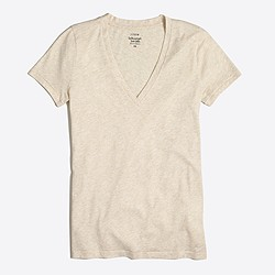 Heathered featherweight slub cotton V-neck T-shirt