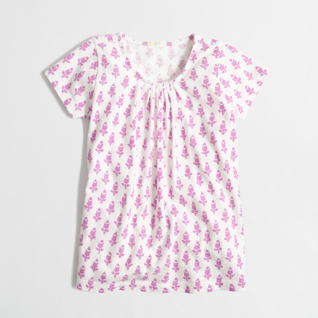 Factory girls' pleated tee in leaf print