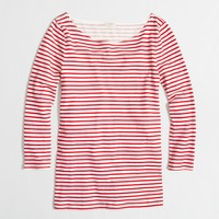 Factory three-quarter sleeve boatneck tee in stripe