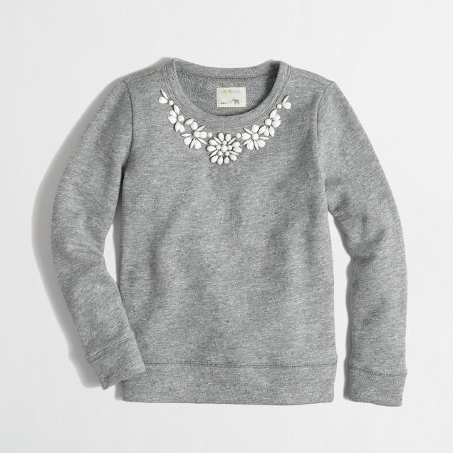 Factory girls' necklace sweatshirt