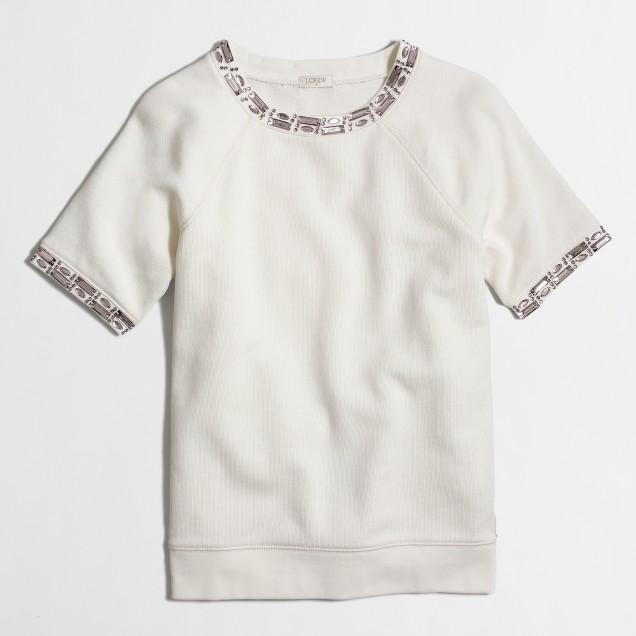Factory short-sleeve jeweled sweatshirt