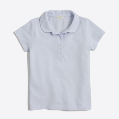Girls' Peter Pan collar piqué polo shirt