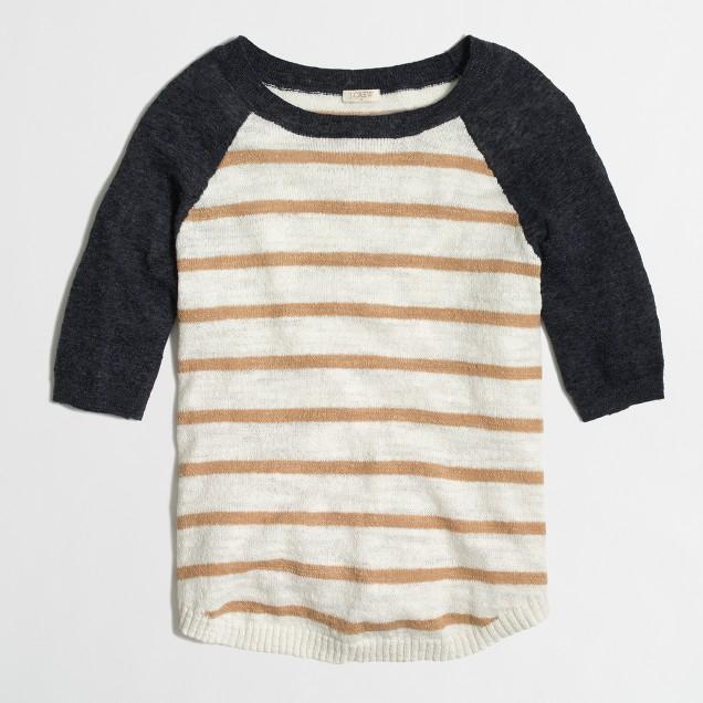 Factory airspun baseball sweater in stripe