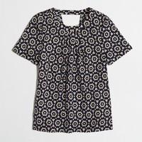 Printed crossed-back drapey top