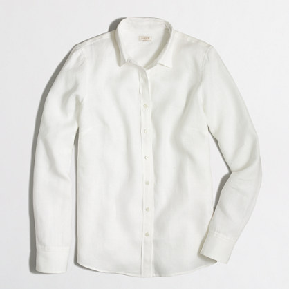 Factory white classic button-down shirt in linen