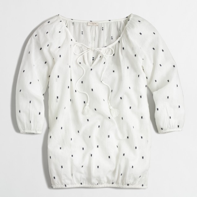 Factory textured dot peasant top
