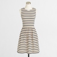 Factory pleated ponte dress in stripe