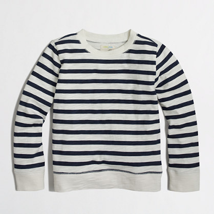 Boys' striped lightweight crewneck sweatshirt
