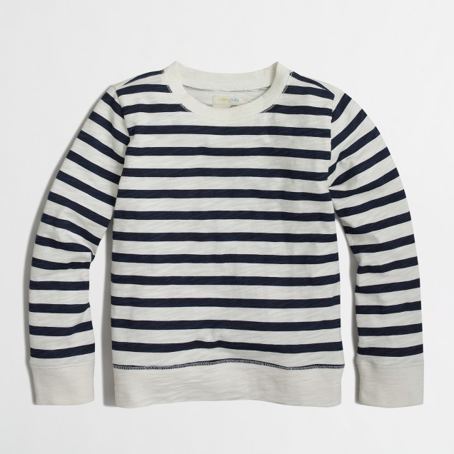 Boys' striped lightweight crewneck sweatshirt