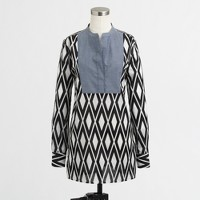 Factory printed tunic with solid bib