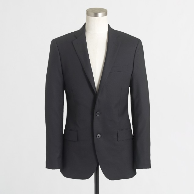 Factory Thompson suit jacket with double vent in black wool