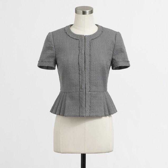 Factory cropped tonal tweed jacket