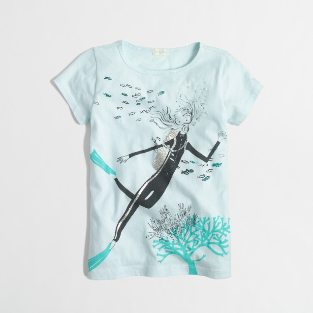 Factory girls' scuba girl keepsake tee