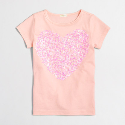 Girls' confetti sequin heart keepsake t-SHIRT