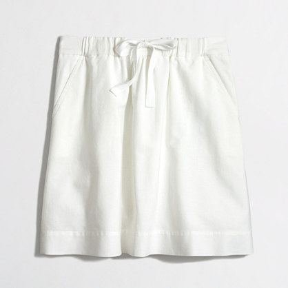 Factory drawstring skirt in linen-cotton