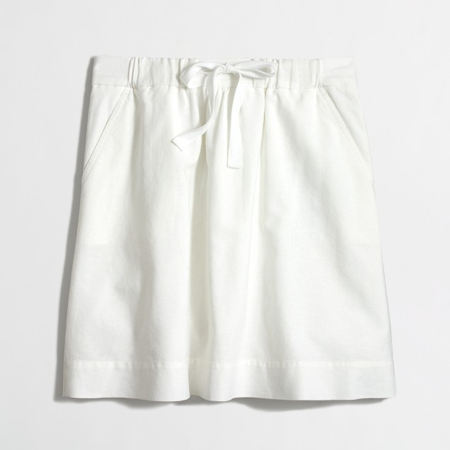 Factory drawstring skirt in linen-cotton